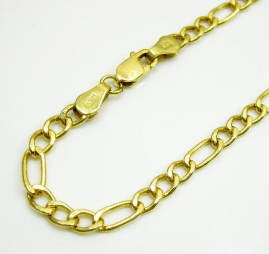 10k Yellow Gold Figaro Bracelet 7 Inch 3.3mm
