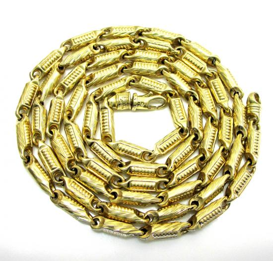 10k Fancy Yellow Gold Bullet Chain 30 Inch 4mm