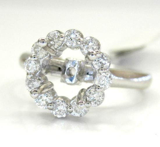 18k White Gold Round Diamond Halo Semi Mount Ring 0.58ct