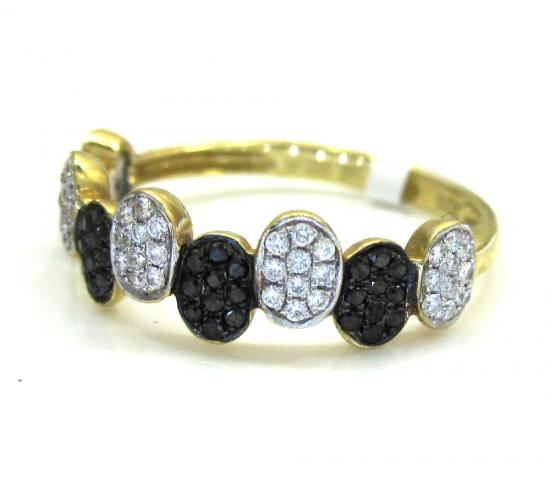 Ladies 14k Yellow Gold Black & White Diamond Piano Oval Shaped Ring 0.37ct
