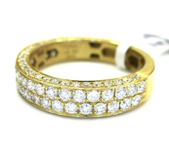 Ladies 14k Yellow Gold 2 Row Diamond Wedding Band Ring 1.21ct
