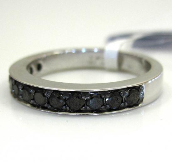 Ladies 14k White Gold Black Diamond Wedding Band 0.47ct