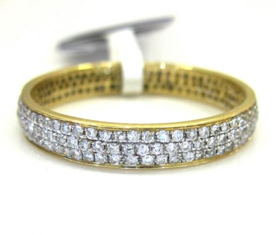 Ladies 14k Yellow Gold Tri Diamond Eternity Wedding Band Ring 0.59ct