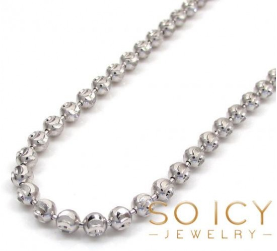 10k White Gold Moon Cut Bead Link Chain 24-36 Inch 3mm