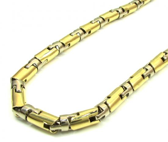 10k Yellow & White Gold Bullet Cylinder Chain 30 Inch 6.5mm
