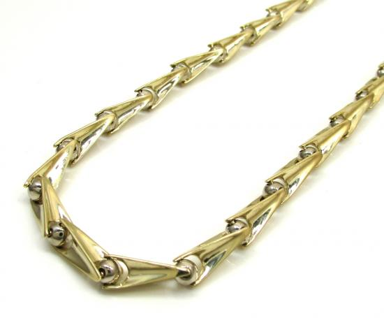 10k Yellow & White Gold Bullet Bermuda Link Chain 30 Inch 5.7mm