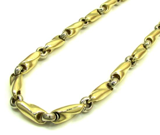 10k Yellow & White Gold Bullet Twist Link Chain 30 Inch 5mm
