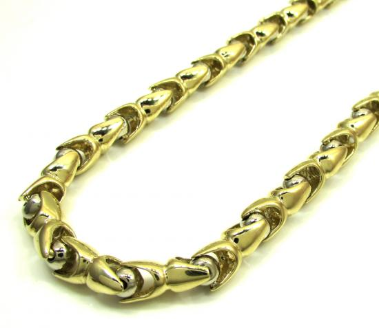 10k Yellow & White Gold Fancy Bullet Link Chain 30 Inch 6mm