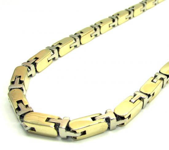 10k Yellow And White Gold Fancy Box Bullet Chain 30 Inch 5.5mm