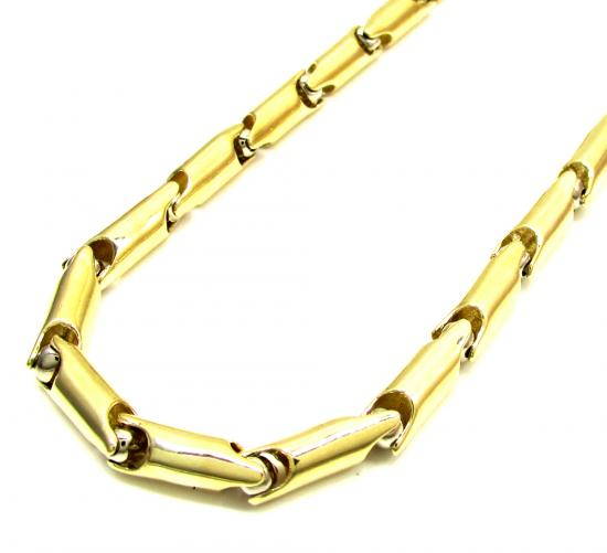 10k Yellow And White Gold Bullet Link Chain 30 Inch 4.8mm