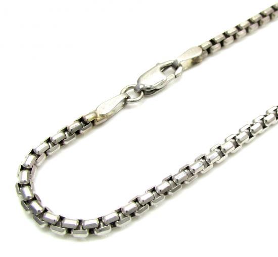 Ladies 14k White Gold Box Link Bracelet 7.25 Inch 2.2mm