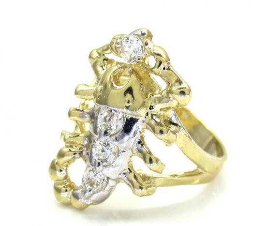 Ladies 10k Two Tone Cz Scorpion Ring 0.20ct