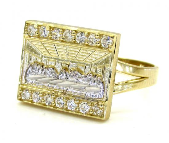 Ladies 10k Two Tone Cz 'the Last Supper' Ring 0.30ct