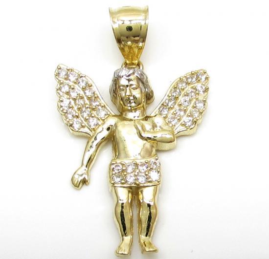 10k Yellow Gold Small Baby Cherub Angel Pendant 1.50ct