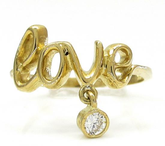 10k Yellow Gold Script Love Ring 0.05ct