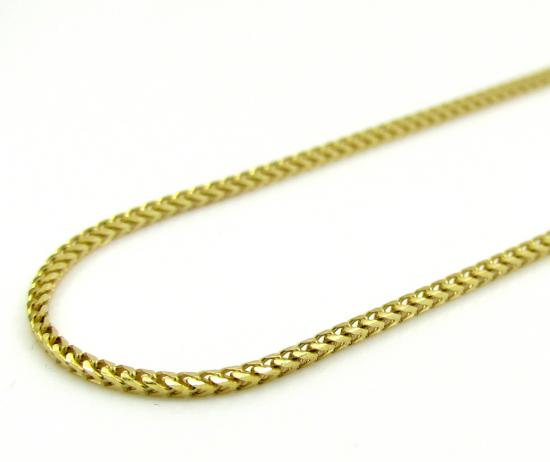 10k Yellow Gold Solid Skinny Franco Link Chain 18-24 Inch 1.0mm