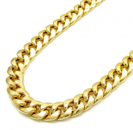 10k Yellow Gold Thick Hollow Miami Chain 24-36 Inch 6.7mm