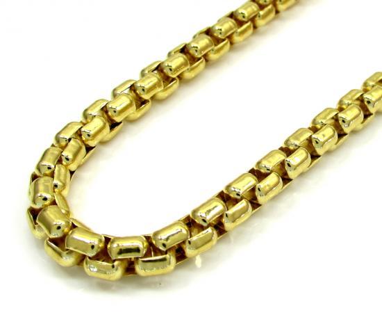 10k Yellow Gold Thick Venetian Box Chain 24-30 Inch 5.0mm