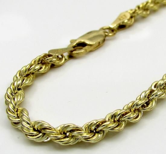10k Yellow Gold Skinny Smooth Hollow Rope Bracelet 9 Inch 4mm