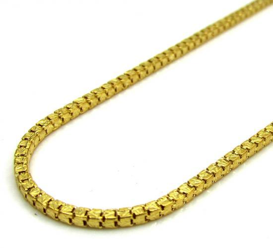 10k Yellow Gold Fancy Diamond Cut Box Chain 20 Inch 1.5mm