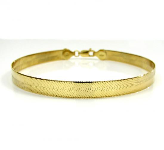 10k Yellow Gold Unisex Herringbone Bracelet 8 Inch 6mm