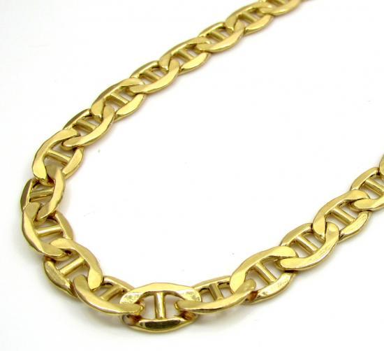 10k Yellow Gold Puffed Mariner Chain 22 Inch 5.2mm