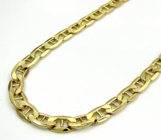10k Yellow Gold Puffed Mariner Chain 24 Inch 4.7mm