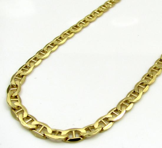 10k Yellow Gold Skinny Puffed Mariner Chain 16-24 Inch 3.5mm