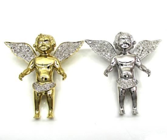 14k Yellow And White Gold Baby Cherub Pendant 0.36ct