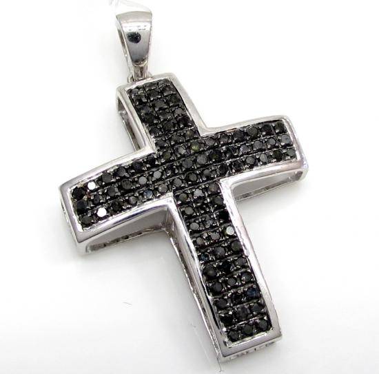 14k White Gold Black Diamond Mini Cross .50ct