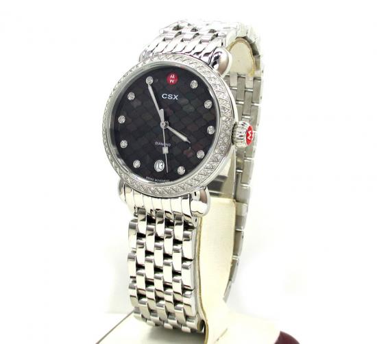 Ladies Michele Csx Black Dial Diamonds Watch Mw03r01a1928