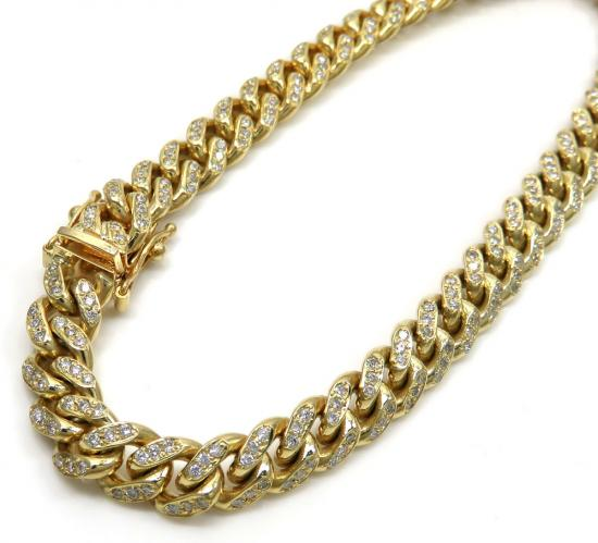 10k Solid Yellow Gold Diamond Miami Bracelet 8.5 Inch 7mm 1.92ct
