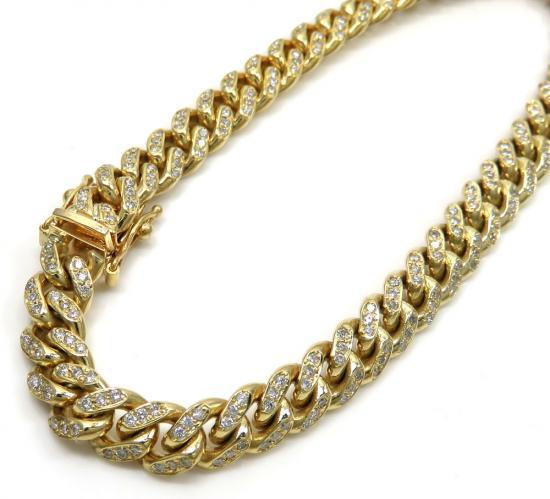 10k Solid Yellow Gold Diamond Miami Bracelet 8.5 Inch 7mm 1.92ct