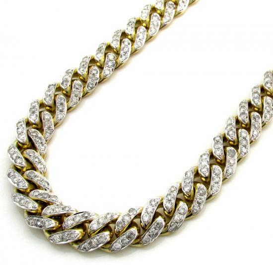 10k Solid Yellow Gold Thick Diamond Miami Chain 26 Inch 9.2mm 18.52ct