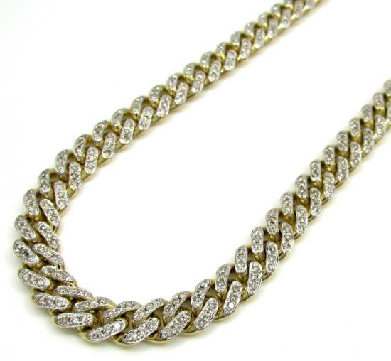 10k Solid Yellow Gold Diamond Miami Chain 30 Inch 7mm 7.62ct
