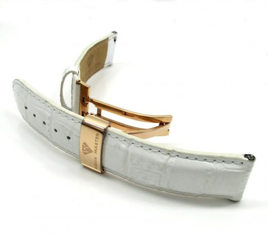 20mm Aqua Master Genuine Stainless Steel Rose Gold White Leather Band
