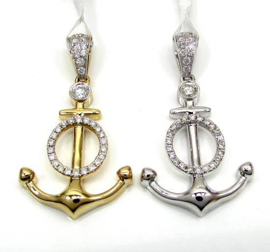 14k Yellow And White Gold Diamond Anchor Pendant 0.36ct
