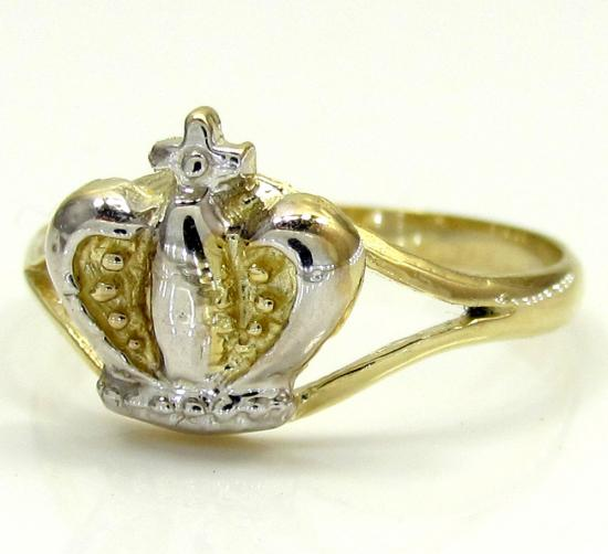 10k Yellow Gold Two Tone Kings Crown Ring