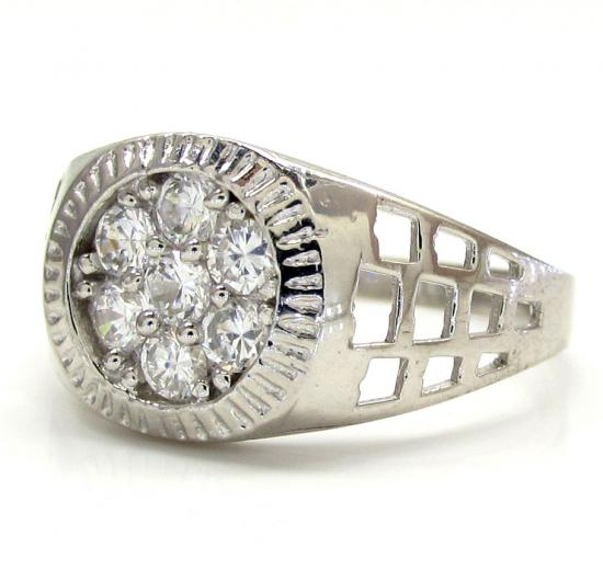 10k White Gold Cz Presidential Cluster Ring .38ct