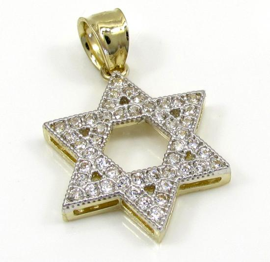 10k Yellow Gold Small Iced Out Cz Star Of David Pendant 0.25ct