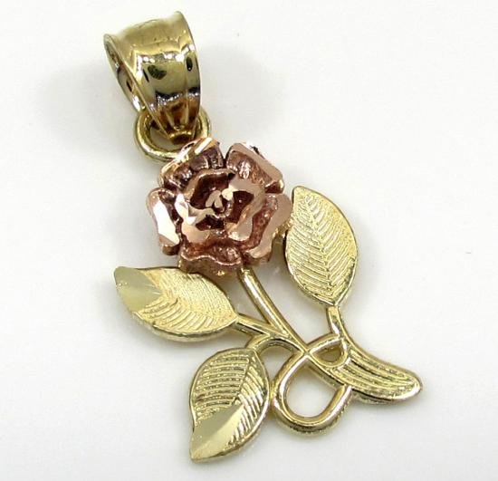 10k Yellow Gold Two Tone Rose Petal Flower Pendant