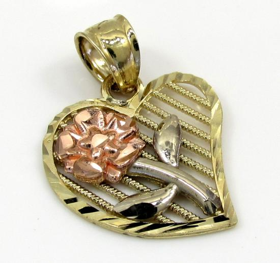 10k Yellow Gold Three Tone Fancy Curved Heart Flower Pendant