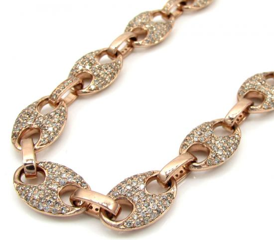 14k Solid Rose Gold Champagne Diamonds Gucci Puff Chain 24' 8.80mm 9.25ct