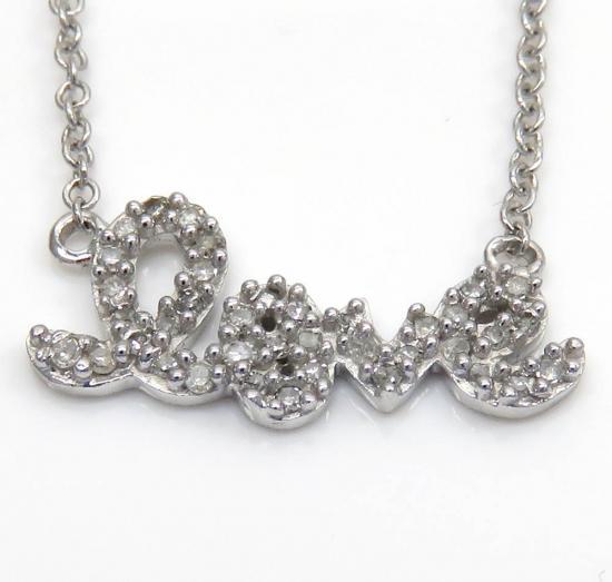 14k White Gold Diamond Love Pendant Chain 0.11ct