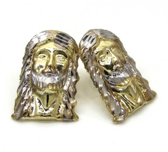 10k Two Tone Gold Diamond Cut Small Jesus Head Pendant
