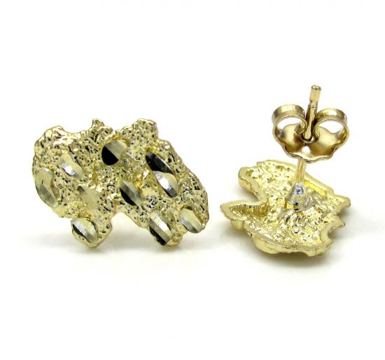 10k Yellow Gold Diamond Cut Small Nugget Earrings
