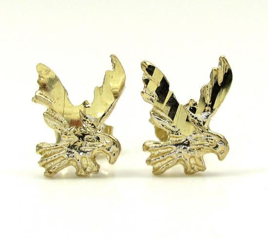 10k Yellow Gold Diamond Cut Eagle Earrings