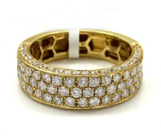 Mens 14k Yellow Gold Half Diamond Iced Out Wedding Band 1.50ct