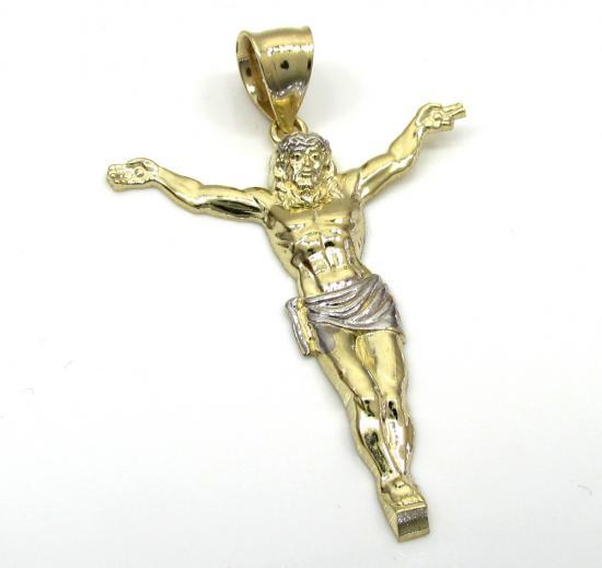 10k Two Tone Gold Large Jesus Pendant