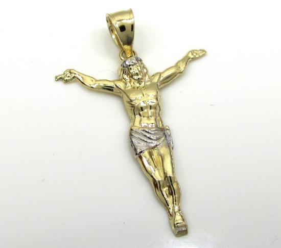 10k Two Tone Gold Medium Jesus Pendant